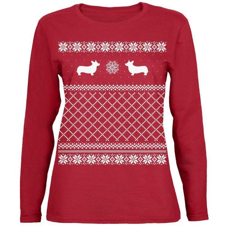 corgi ugly christmas sweater womens long sleeve t shirt