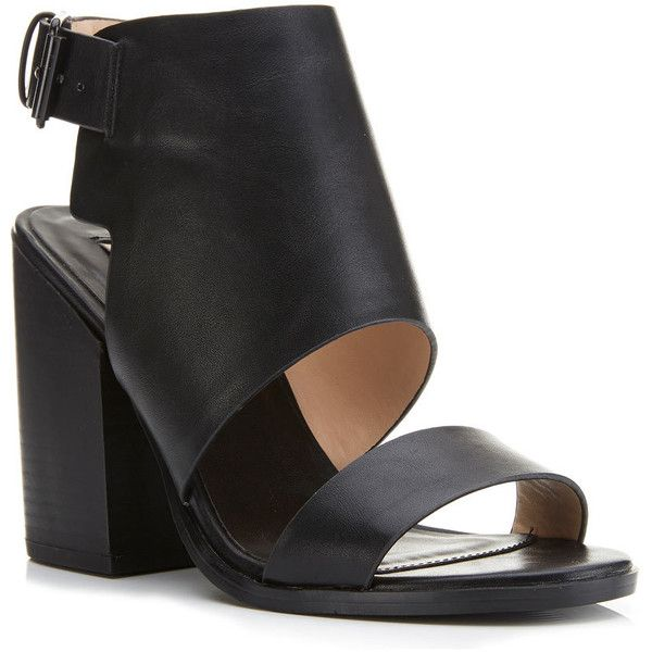 Miss Selfridge FARRINGDON Cuff Sandal ($30) ❤ liked on Polyvore featuring shoes, sandals, black, cuffed sandals, miss selfridge, block heel shoes, miss selfridge shoes and kohl shoes
