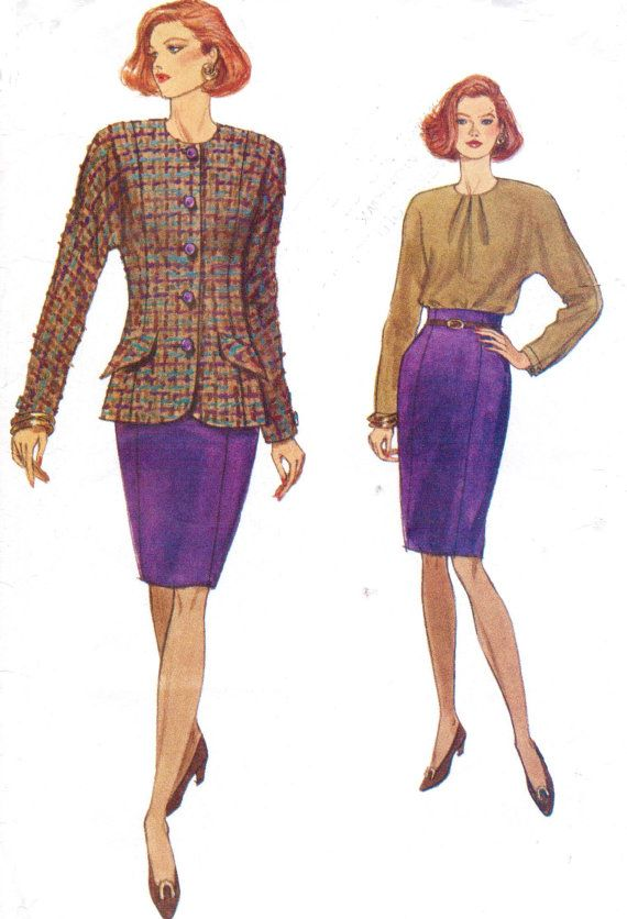 90s Very Easy Very Vogue Sewing Pattern 8142 Womens Unlined Jacket ...
