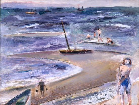"""Provincetown Beach,"" Maurice Sterne, 1946, oil on canvas, 23 1/2. x 17 1/2"", Colby College Museum of Art."