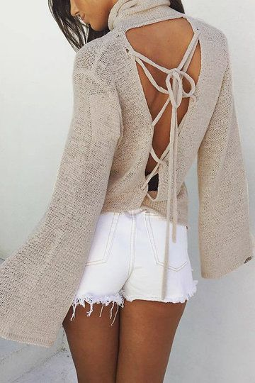 Flared Sleeves T-shirt with Lace-up Back Design - US$17.95 -YOINS
