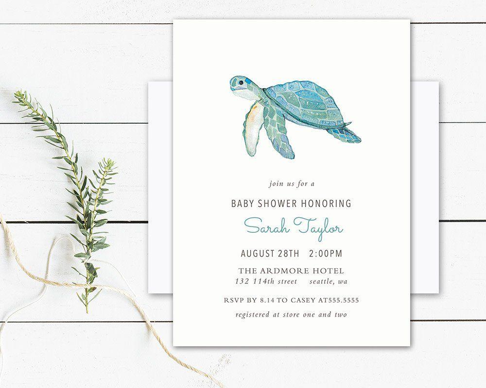 baby shower invitation turtle birthday invitation gender neutral ...