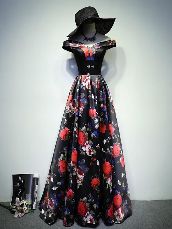 ed06b07cea2 Black Prom Dresses A Line Off-the-shoulder Floral Rose Print Prom Dress  Long Evening Dress JKL663