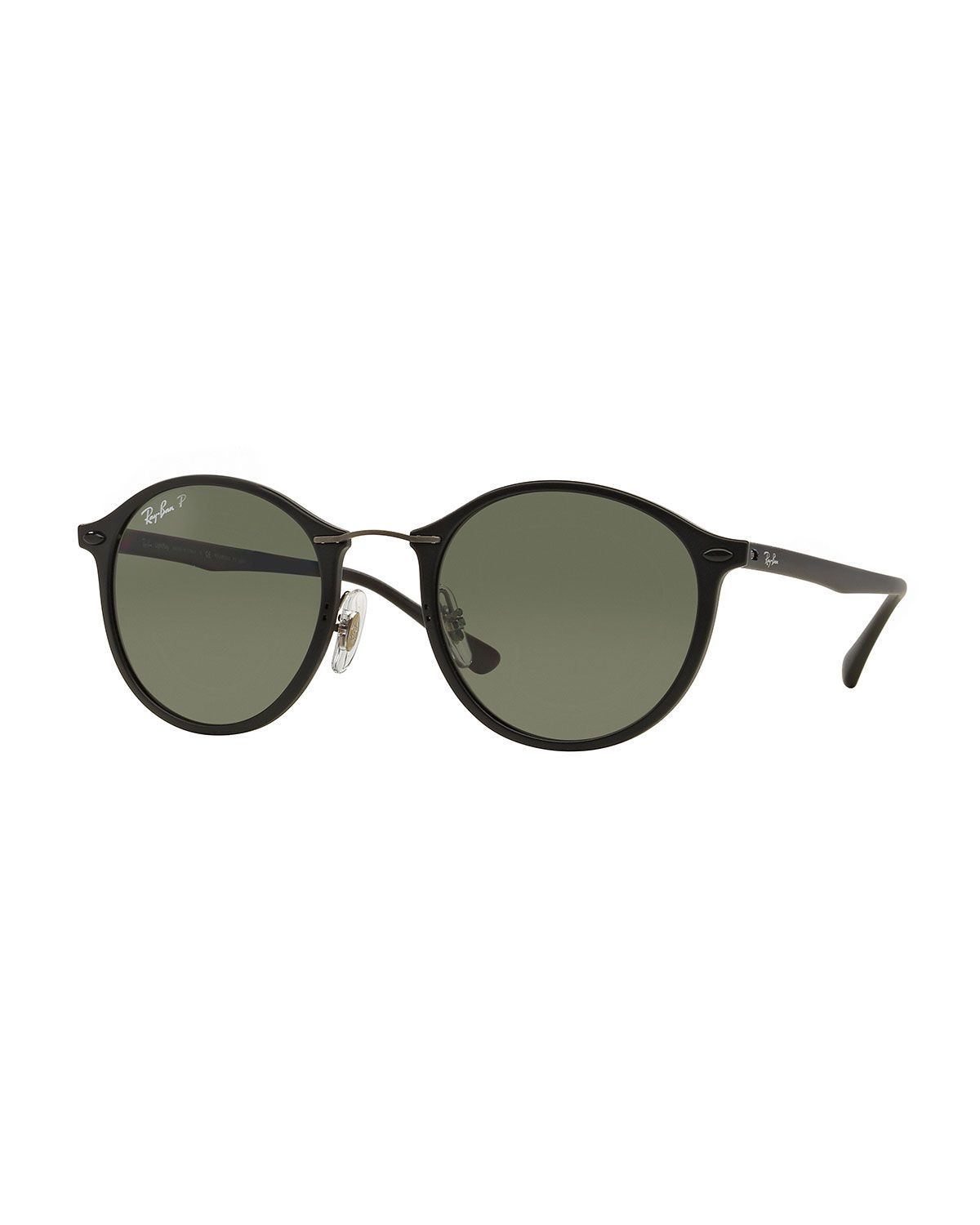 Ray Ban Classic Round Sunglasses Plastic Frames With Metal Wire Nose Bridge Solid Tonal Lenses Sili Black Round Sunglasses Round Sunglasses Metal Sunglasses