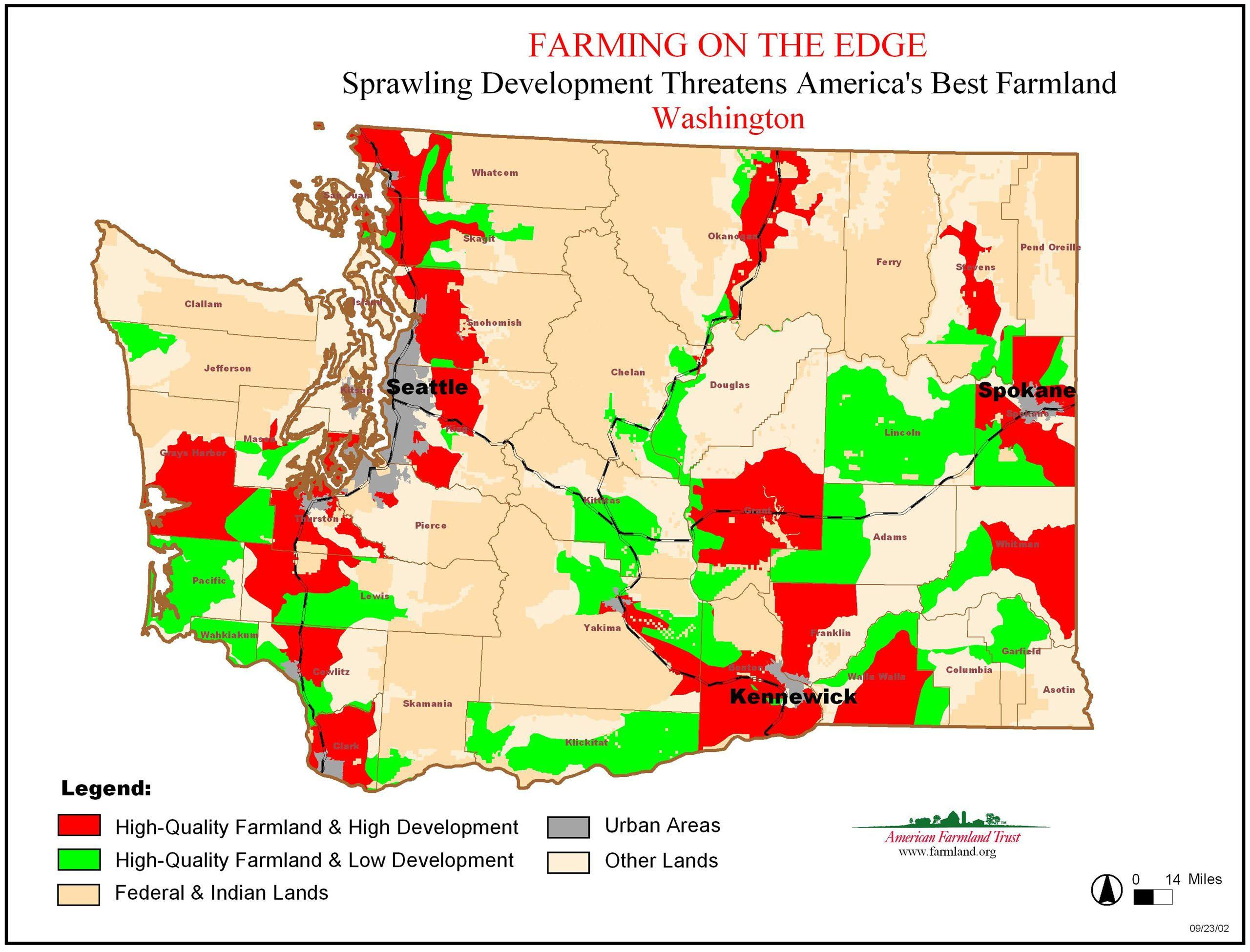 Arable Lands Vs Development Wa Highlands Washington State - Washington-us-map