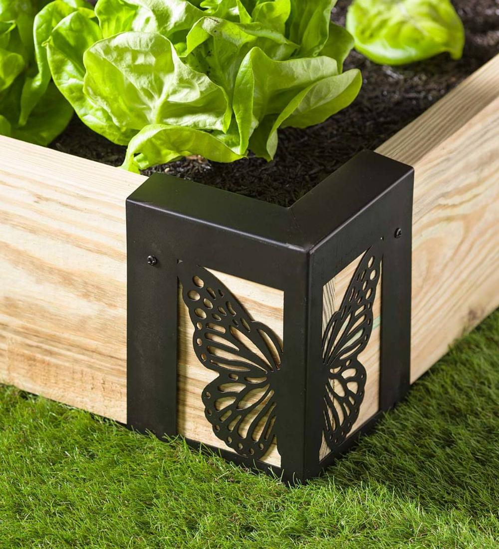 Steel Raised Garden Bed Corner Brackets In Butterfly Design Set Of 4 In 2020 Raised Garden Bed Corners Raised Garden Beds Raised Garden Beds Diy
