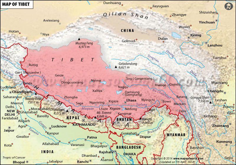 Tibet Map Tibet Map Zhangye