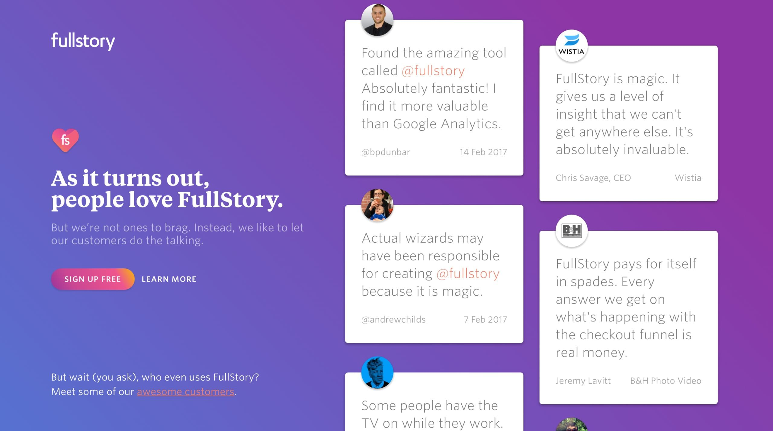 little marketing page by FullStory that showcases