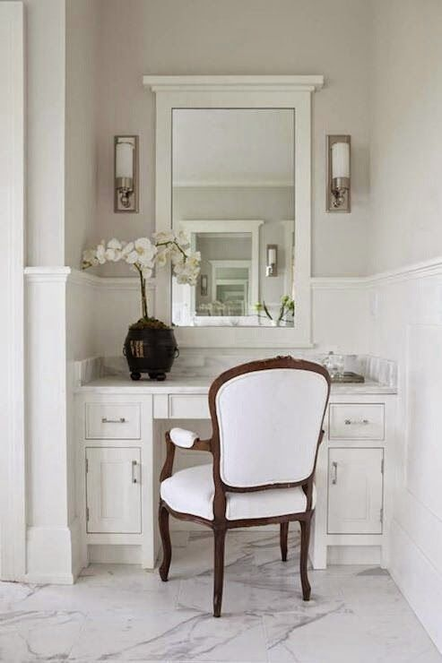Chair Rail Vanity Part - 21: Milton Development: Master Bathroom With Gray Paint Color Chair Rail And  White Paneled Walls.dark And Light Contrasts. White Framed Mirror With  Sconces