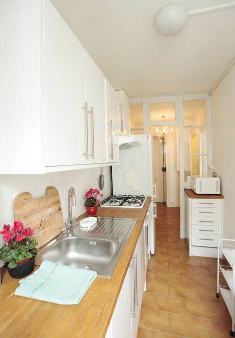 Beautiful White French Kitchens small but beautiful paris apartment - white french kitchen