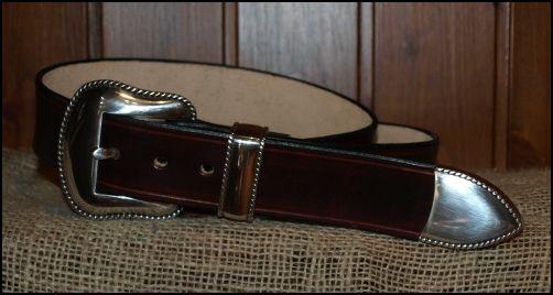Cinturones de cuero. Hebilla de 3 piezas lisas, bañadas en plata, en un cinturón de cuero de 4cm de ancho | Decuero Leather