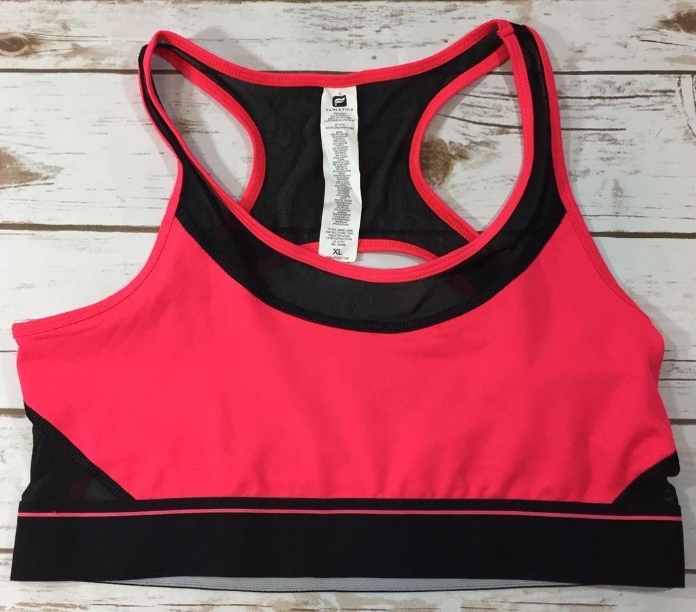 Fabletics Tropez Sports Bra Neon Pink Black Womens size XL