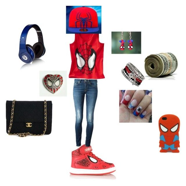 """Spider man outfit"" by happynini ❤ liked on Polyvore featuring Dondup, Beats by Dr. Dre and Chanel"