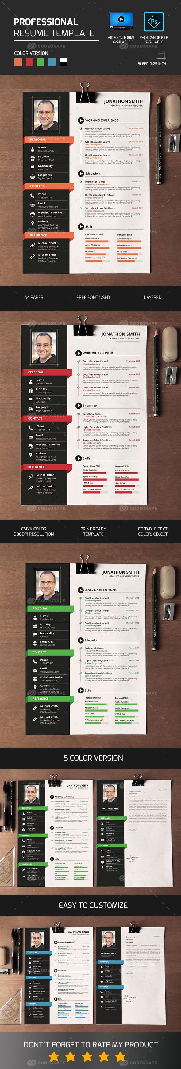 Professional Resume/CV Simple resume template, Resume