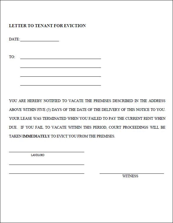 Printable Sample Eviction Notice Template Form Sample Template for