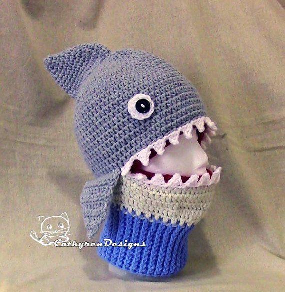 Crochet Shark Ski Mask Hat, Bane Snowboard mask, Teen/Adult Size ...