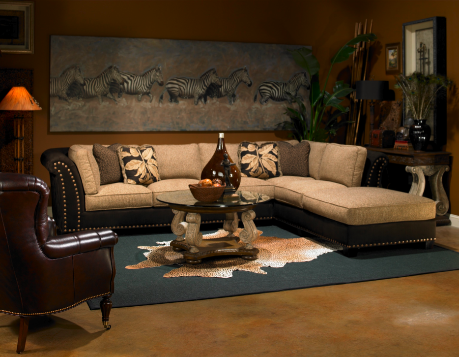 Decorate your Living Room with an African Safari Interior Design: Explorer African  Safari British Colonial Style Tan And Black.