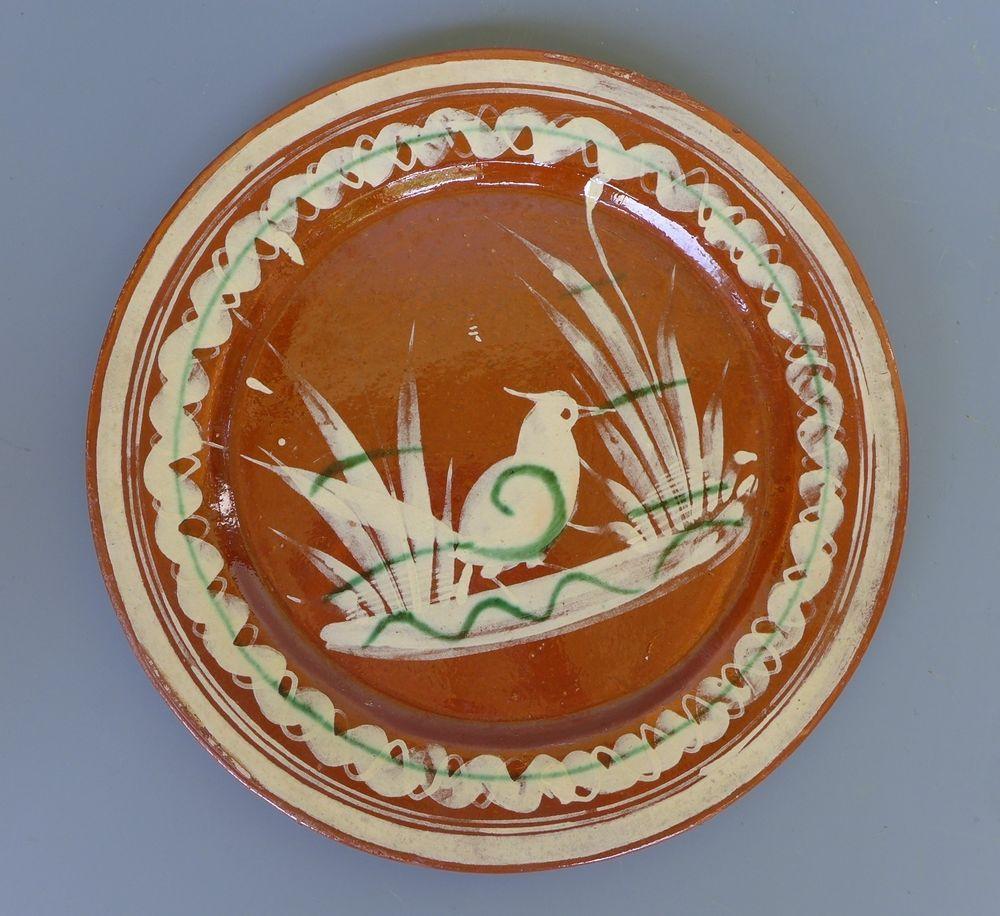 """Vintage red ware Mexican Tlaquepaque bandera plate w/woodpecker  9 1/2"""" diam."""