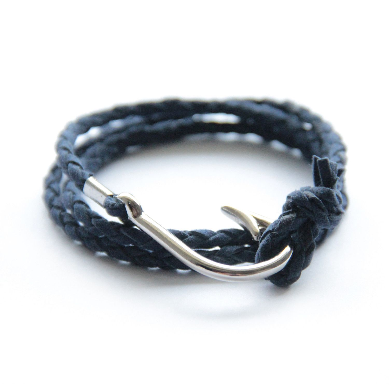 black bracelet paracord ebay hook womens mens us buy silver fish nautical rope en adjustable