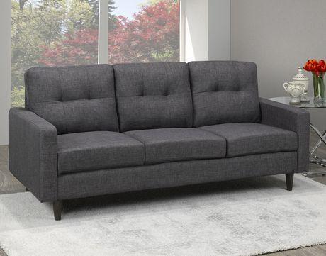 Brassex Inc Brassex 3 Seater Tufted Sofa Grey Grey Tufted Sofa Sofa Sectional Sofa