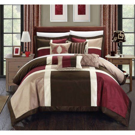 BEAUTIFUL RICH ELEGANT BURGUNDY RED BROWN IVORY WHITE TEXTURE COMFORTER SET NEW