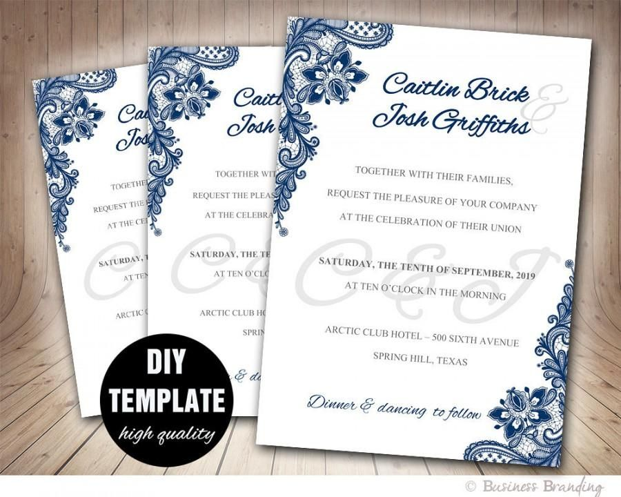Navy Blue Wedding Invitation Template Diy Instant Printable Invite Lace