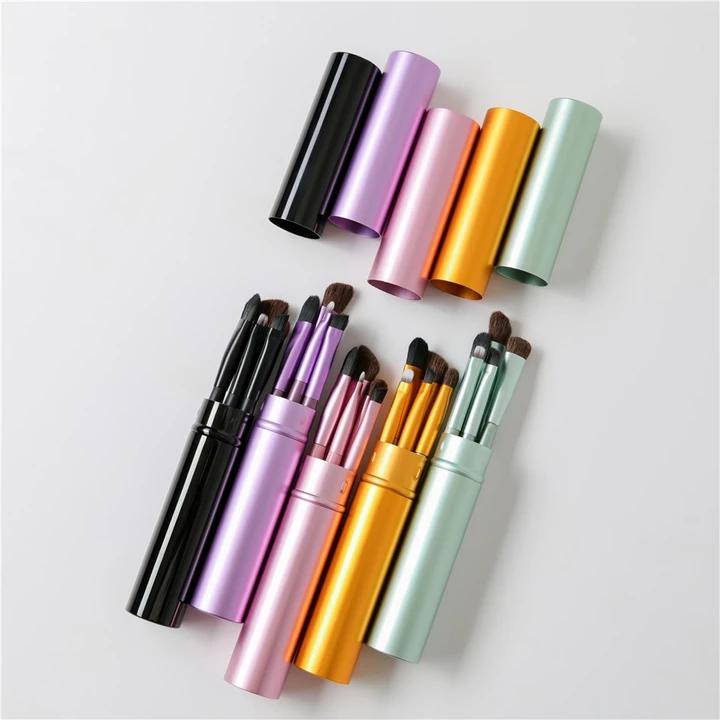 5pcs Travel Portable Mini Eye Makeup Brushes Set Smudge Eyeshadow Eyeliner Eyebrow Brush Lip Make U