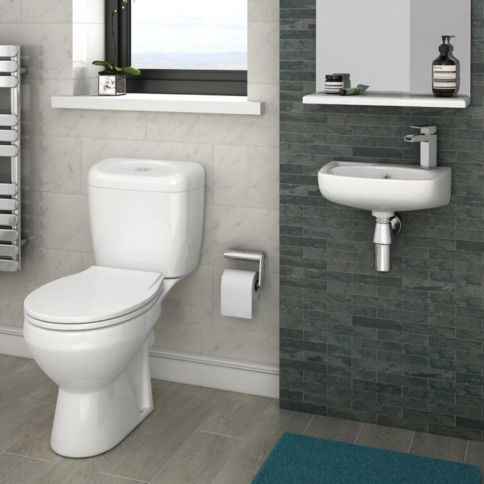 Avon Compact Cloakroom Suite Close Coupled ToiletsCloakroom SuitesSmall BathroomsWall Mounted BasinsSpacePlumbingVictorianAvonCompact