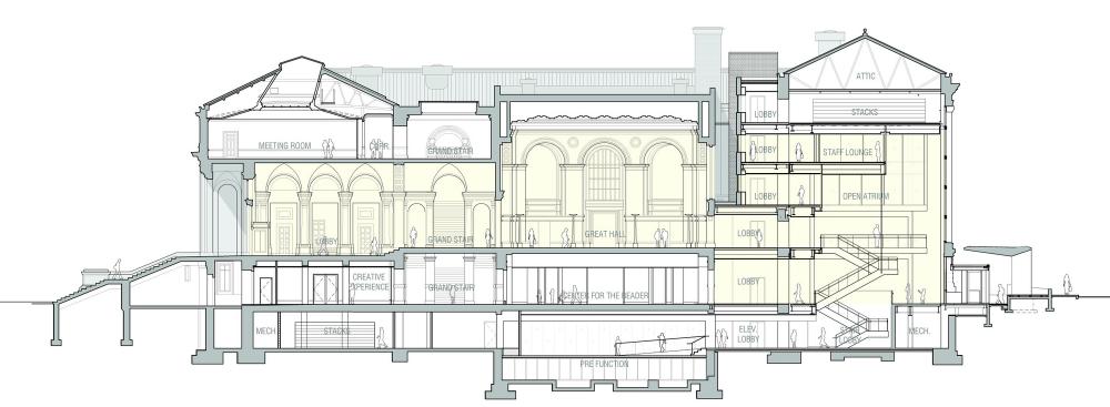 공간이 낮고 길고 - 크고 - 낮게 더 크고!  St. Louis Public Library / Cannon Design