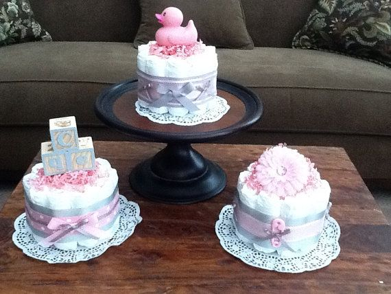 Baby Shower Decorations Diapers ~ Pink and grey baby shower centerpieces bundt size diaper cakes