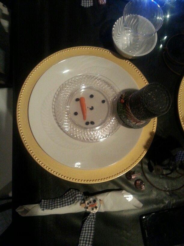 Melting snowman table setting