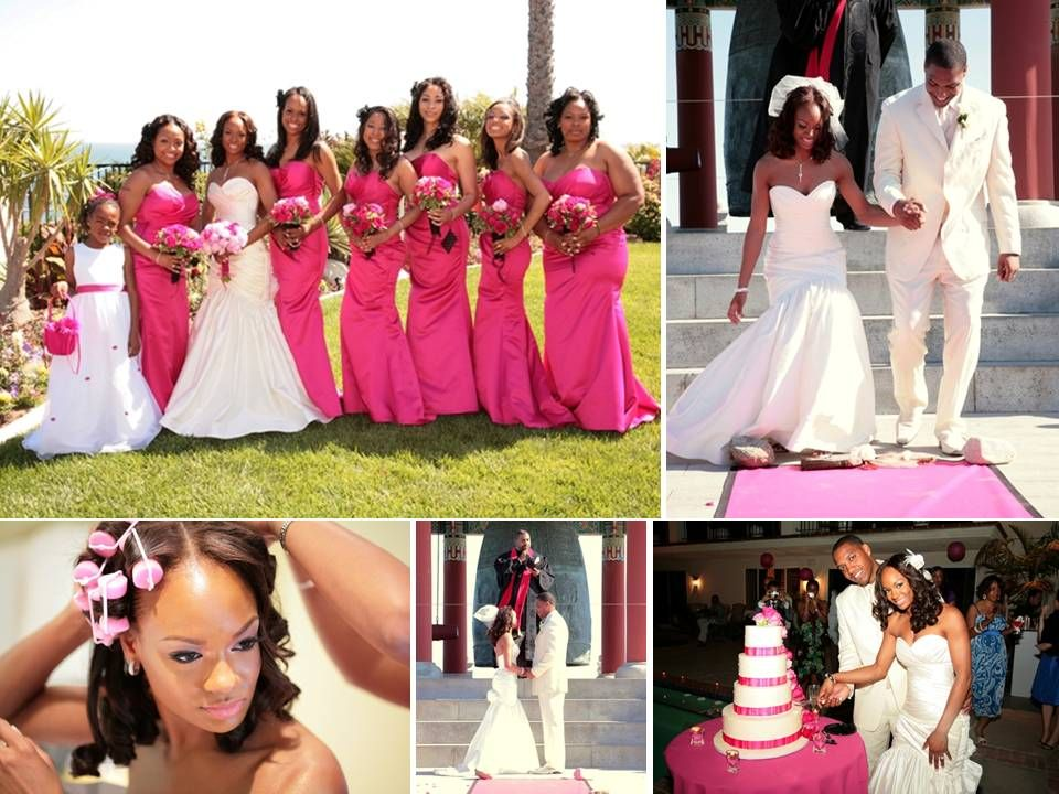 Bride Wears White Sweetheart Watters Wedding Dress Bridesmaids In Hot Pink Full Length Mariage Afro Thème Fuschia Et Blanc