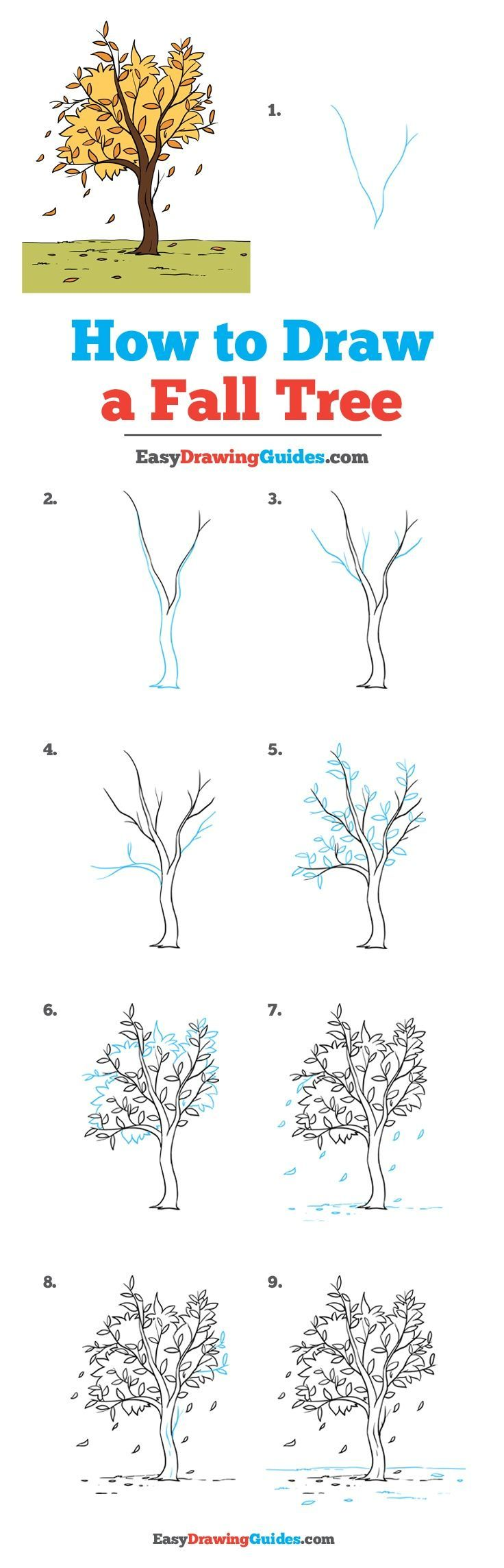 How to Draw a Fall Tree #falltrees
