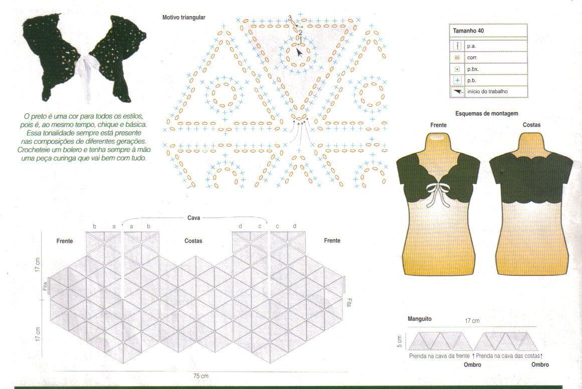 bolero+patron+crochet+con+triangulos.jpg (1161×776) | Crochet Bolero ...