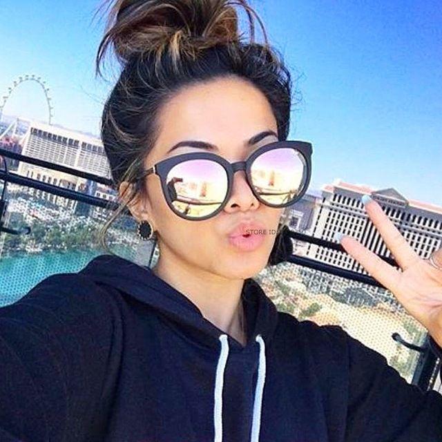 d1066f052f439d Femmes Marque De Luxe lunettes de Soleil Alliage Cadre lunettes de Soleil  Rondes Femmes 2017 Nouvelle Mode Miroir Reflètent Lunettes de Soleil  Oversize Sexy ...