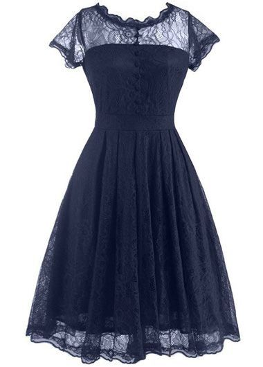 64f76d13282 Cap Sleeve Navy Blue Lace A Line Dress