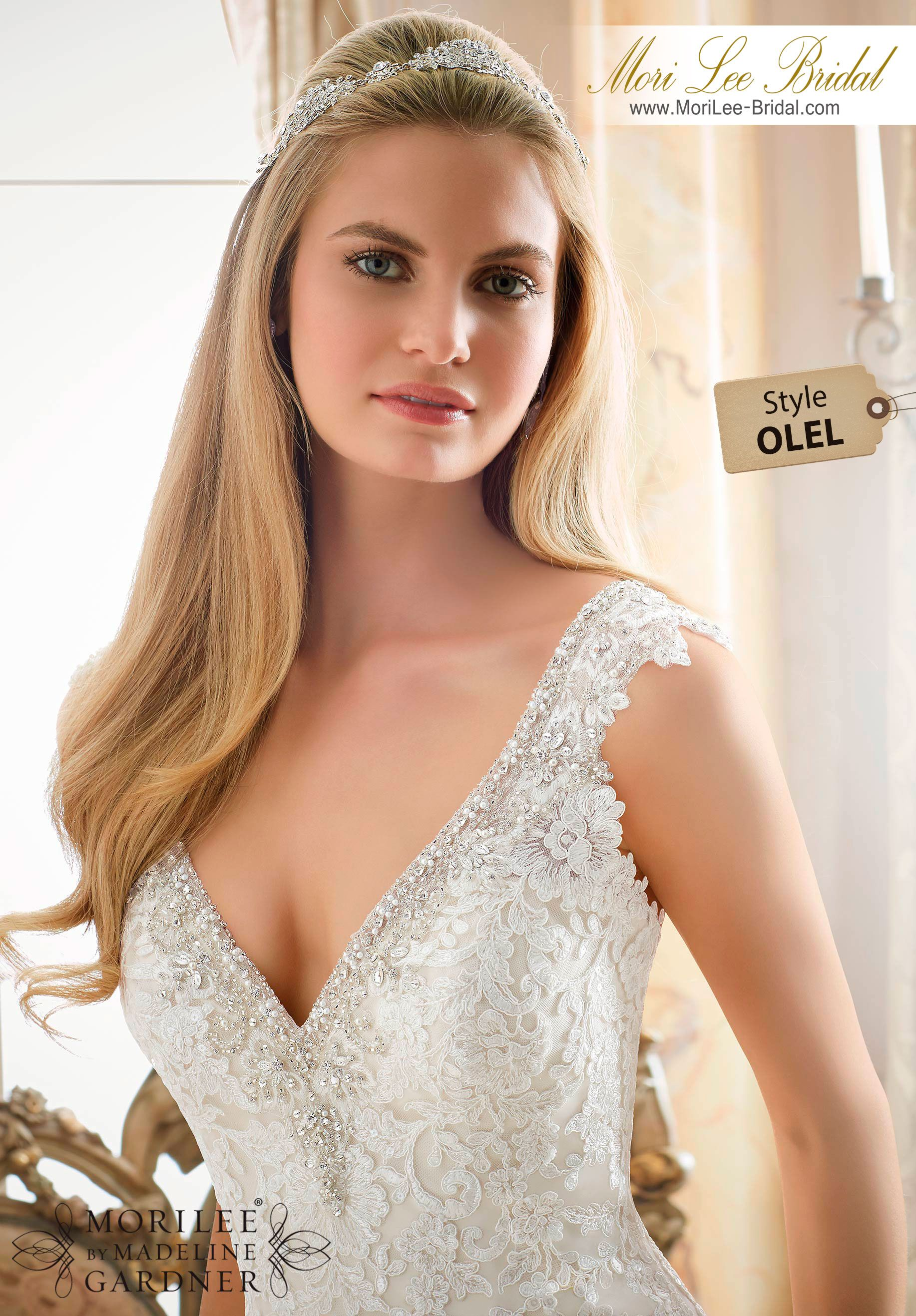 Dress Style OLEL  CONTOURED STRAPS WITH DIAMANTE BEADING ON NET WITH ALENCON LACE APPLIQUES  Colors Available: White/Silver, Ivory/Silver, Light Gold/Silver