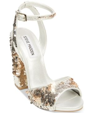 2337f703114 Steve Madden Women s Ritzy Sequin Dress Sandals - White 7.5M ...