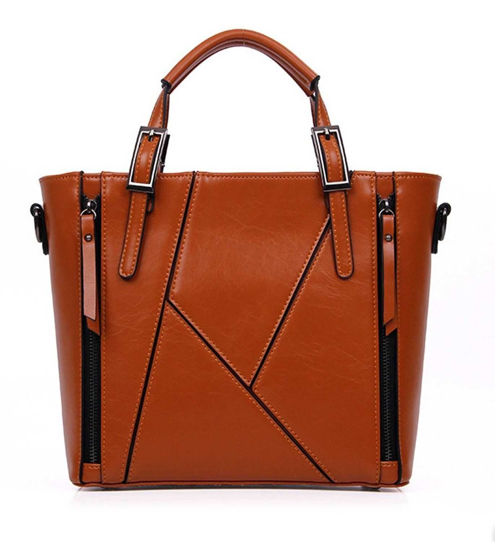 Avber Vintage Style Stitching HandBag Brown