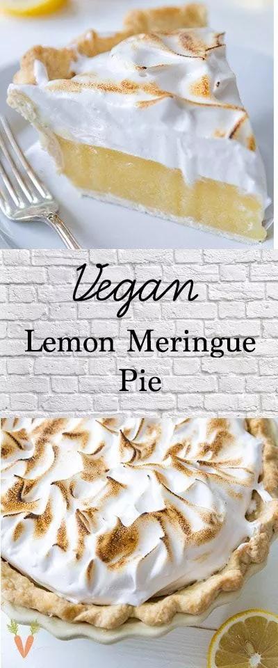 Vegan lemon meringue pie that's egg and dairy free and tastes like the real deal! The best lemon pie you'll ever eat! #lemonmeringuepie #fruitpie #veganmeringue