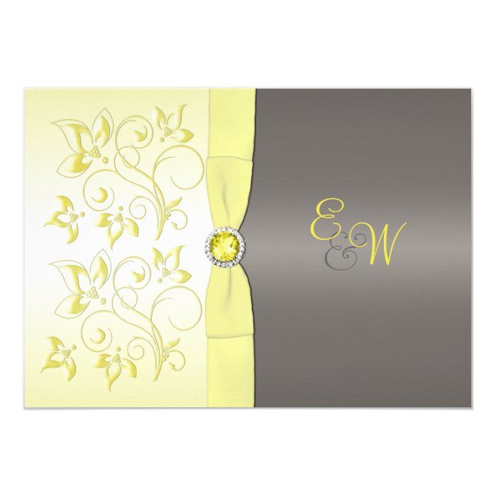 Yellow and Gray Floral Monogrammed Invitation