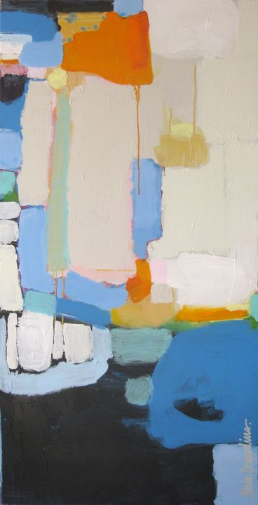 """""""All Things Considered"""" by Claire Desjardins. 30""""x60"""" - Acrylics on canvas. 2012."""