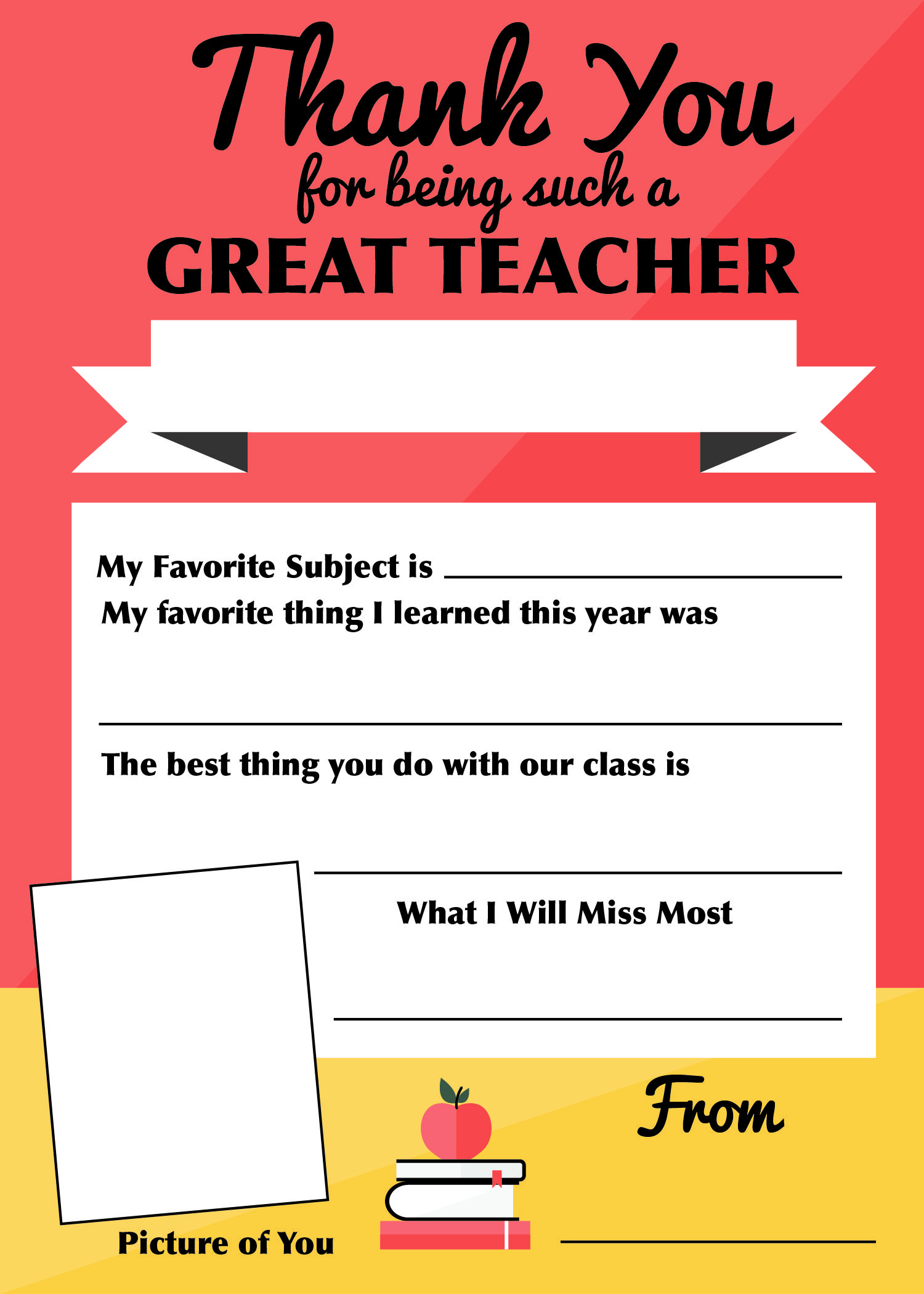 Free Thank You Teacher Printable