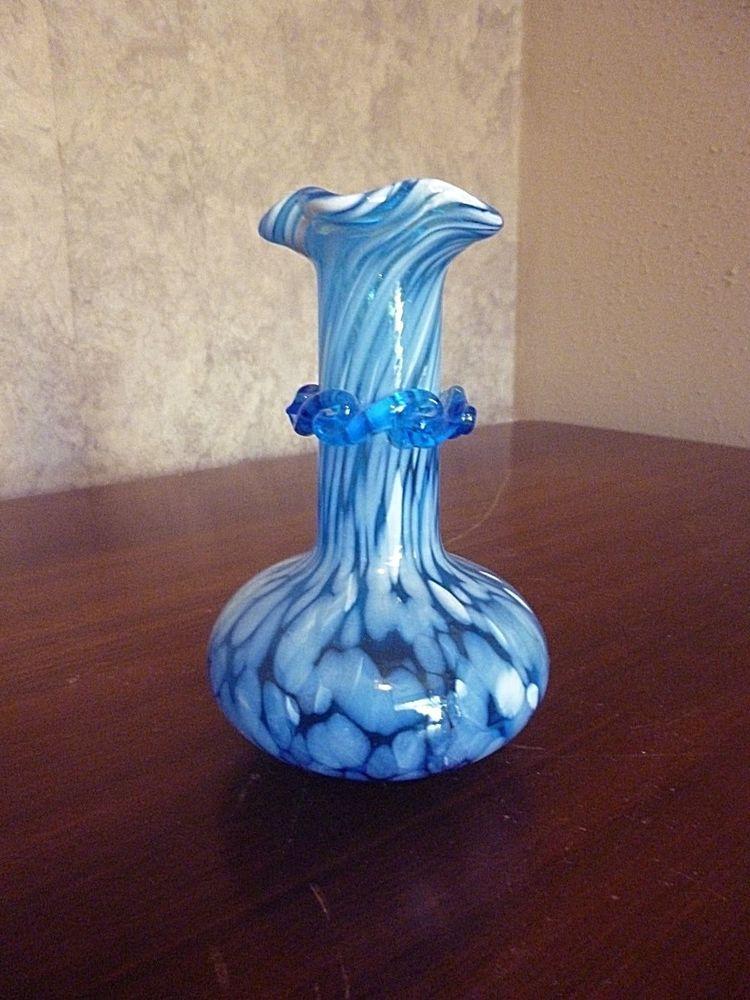 Murano Vintage Blue White Splatter Decor Vase 4 1 4 Tall