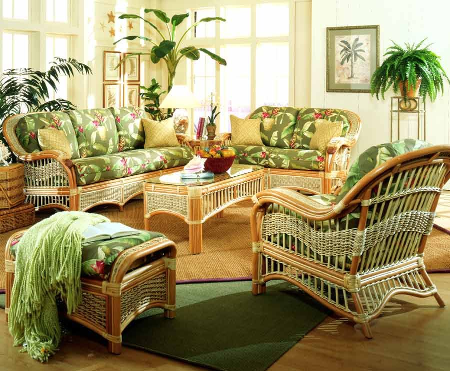 6 Pc Indoor Rattan Living Room W Upholstered Cushions