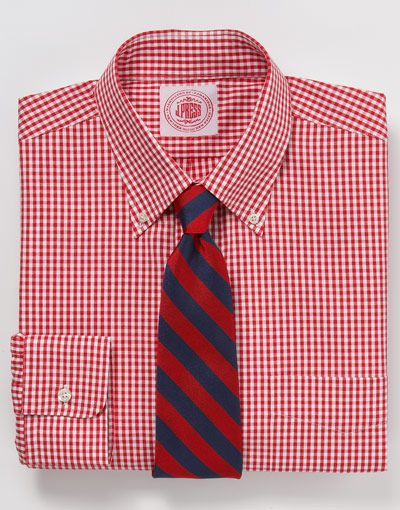 Gingham button-down shirt in red/white-$73.50