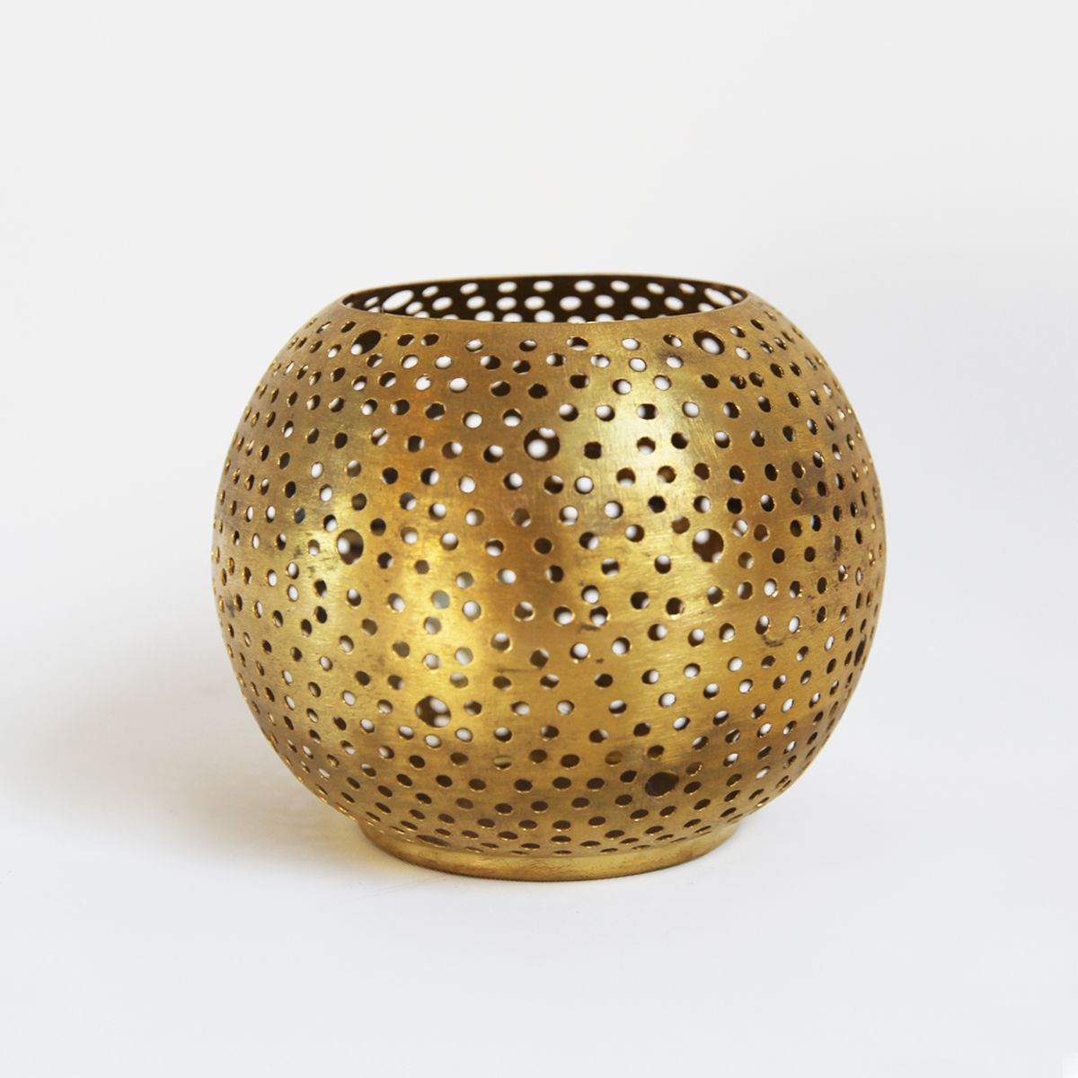 Br Ball Candle Holder Tea Light With Perforated Holes Makes An Elegant Effect When Lit A Gold Colored Finish