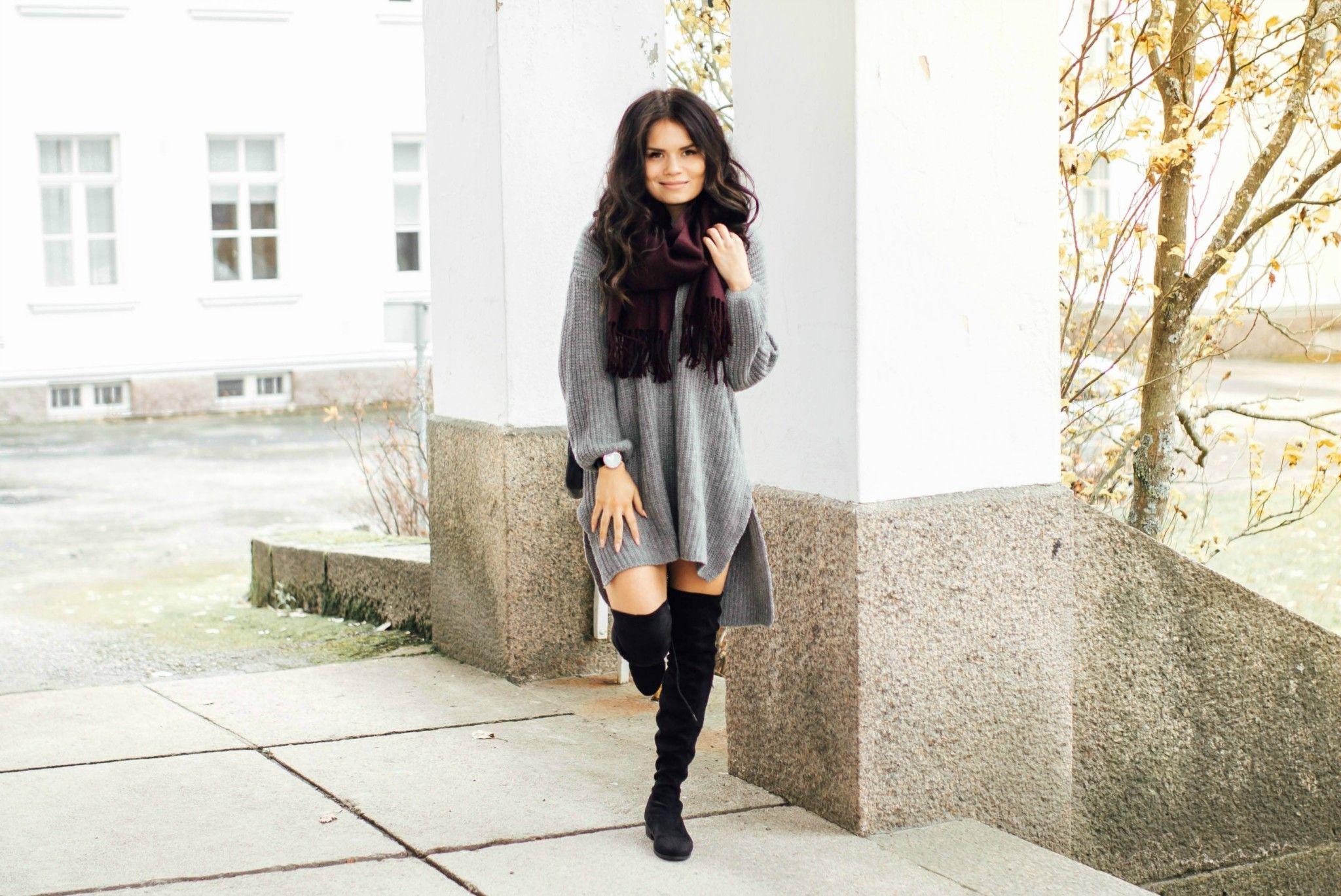 Grey gardigan dress
