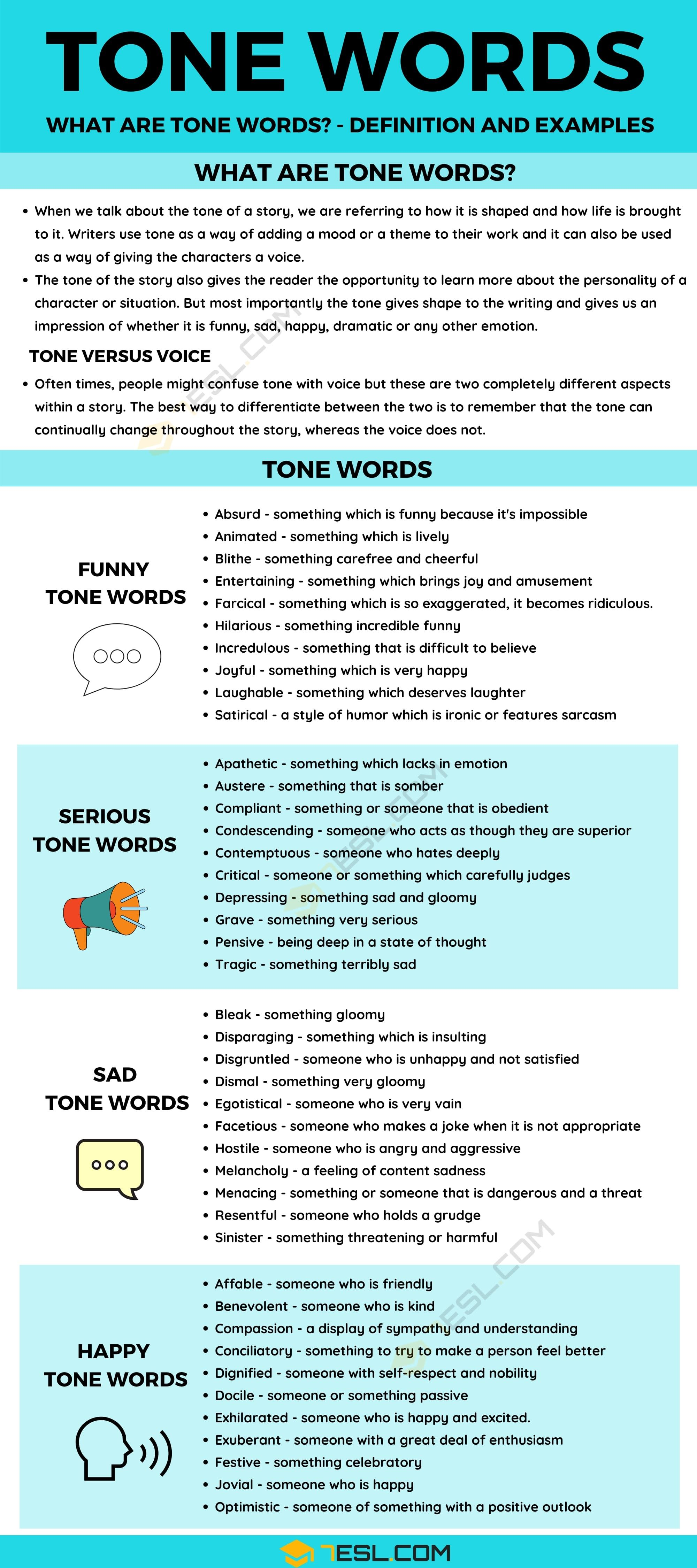 Tone Word Definition And Useful Example Of 7esl Writing Words Paraphrase In English Language