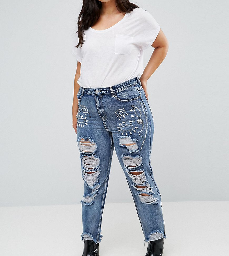301ec669ccb5 Alice   You Boyfriend Jeans With Distressing And Gem Embellishment ...